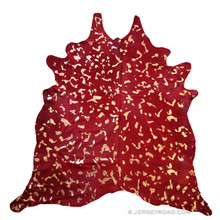 Devore Dyed Red with Metallic Gold Cowhide Rug