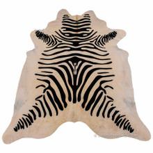 Zebra Print Cowhide Rug (Beige)