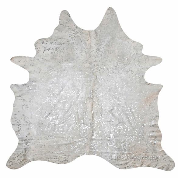devore metallic silver cowhide rug image 1