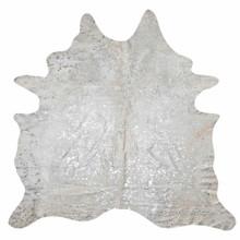 Devore Metallic Silver Cowhide Rug