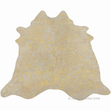 Devore Metallic Gold Cowhide Rug
