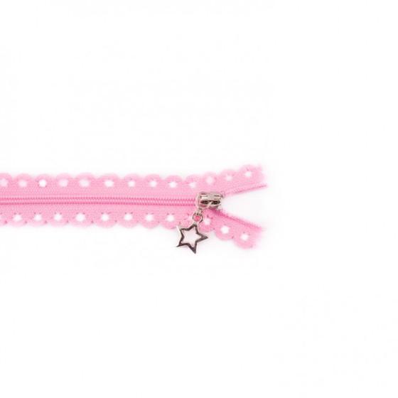 Star Cut Zipper: Pink (25 cm)