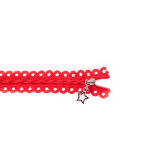 Star Cut Zipper: Red (25 cm)