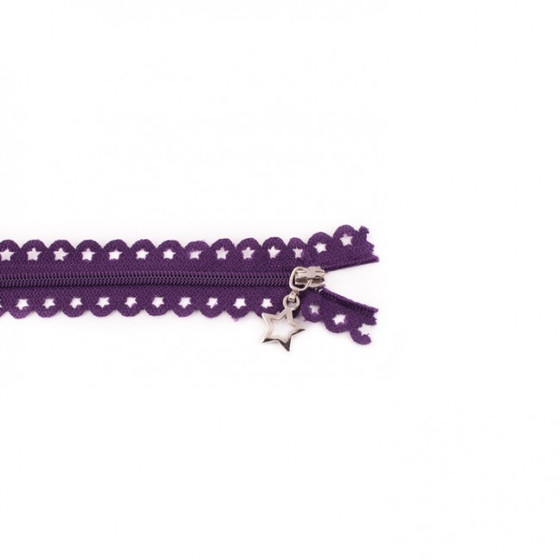 Star Cut Zipper: Purple (25 cm)