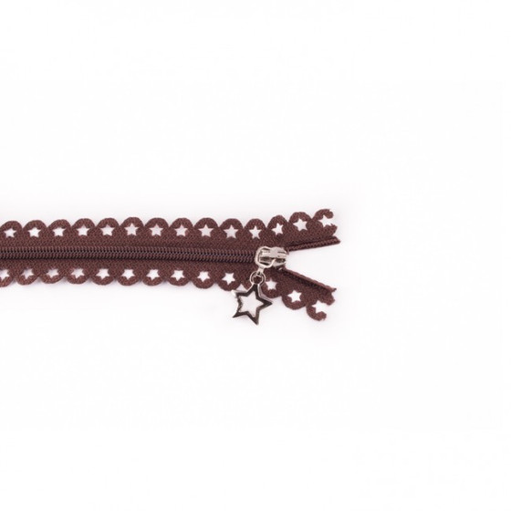 Star Cut Zipper: Brown (25 cm)