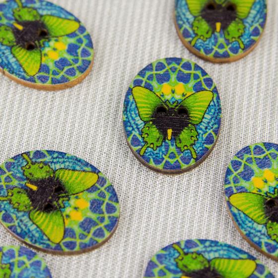 Butterfly, Blue:  Wooden Button