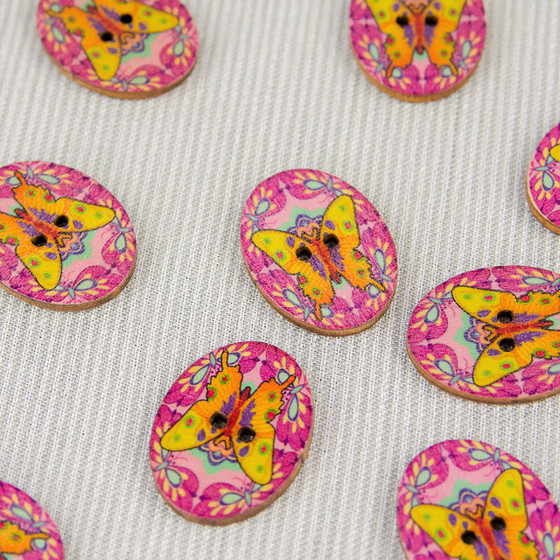 Butterfly, Pink:  Wooden Button