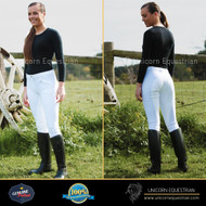 Professional Woven Ladies White Breeches With Full Clarino Seat