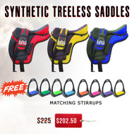 Treeless Synthetic Saddles W/ Free Stirrups Matching Color Treads