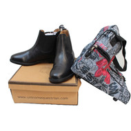 Unicorn Pull On Horse Riding Jodhpur Boots Black + Free Printed Jodhpur Bag