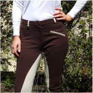 Two Tone Jodhpurs Brown n Beige with Self Seat Knee Patch