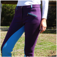 Two Tone Jodhpurs Purple & Blue with Self Seat Knee Patch
