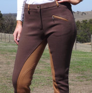 Two Tone Jodhpurs Choco Brown n Light Brown with Self Seat Knee Patch