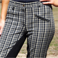 Beige Black Grey Check Full Seat Breeches