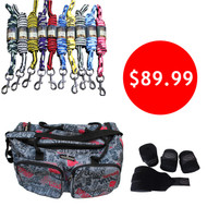 Set of 10 Premium Lead Ropes+Set of 4 Horse Bandages+Graffiti Gear Bag-Combo Deal