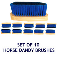 Pack of 10 x Wooden Blue Black Horse Dandy Brushes
