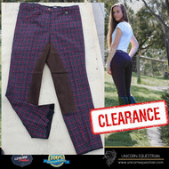 Maroon Check Ladies Breeches Leather Seat Velcro Closure at Bottom