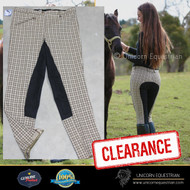 Olive  Check Ladies Breeches Leather Seat