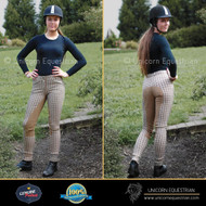 Beige Check Jodhpur Breech W/ Matching Suede Full Seat