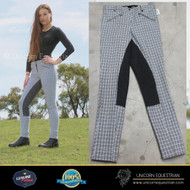 Grey -Check -Breech- W/- Charcoal -Suede -Full -Seat