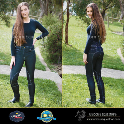 Black Self Seat & Knee Patch Ladies Denim Jodhpur Breeches