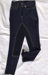 Navy Stretchy Denim Full Leather Men's Woven Riding Breeches