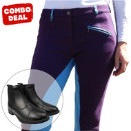Purple n Blue Jodhpurs With Front Zip Black Boots - Combo Deal