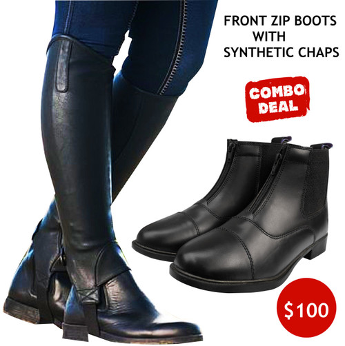 Front Zip Boots With Synthetic Half Chaps