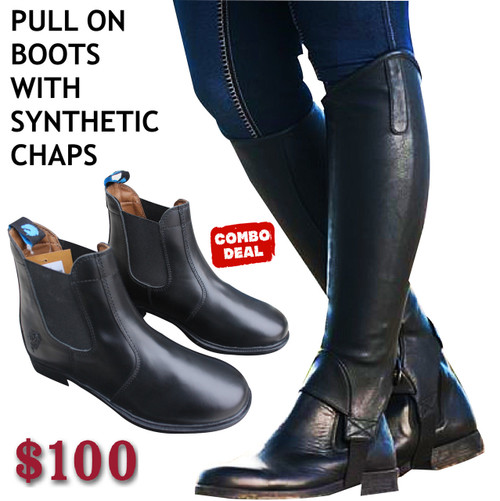 Pull On Boots With Synthetic Half Chaps - Combo Deals