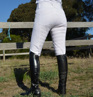 White Silicon Full Seat Ladies Horse Riding Jodhpurs