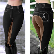 Black Denim Contrast Clarino Full Seat Ladies Horse Riding Breeches