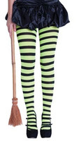STRIPY WITCHES TIGHTS GREEN/BLACK