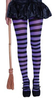 STRIPY WITCHES TIGHTS PURPLE/BLACK