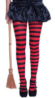 STRIPY WITCHES TIGHTS RED/BLACK
