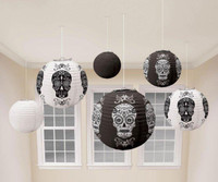 HALLOWEEN DAY OF THE DEAD BLACK & WHITE LANTERNS
