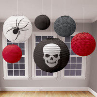 RED, BLACK AND GREY HALLOWEEN LANTERNS