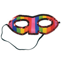 SEQUINED RAINBOW HALF MASK