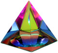 "Crystal Iridescent Pyramid-Rainbow Colors 2.5"" Tall"