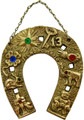 "Horseshoe with Lucky Symbols Gold Plated 4"" Long"
