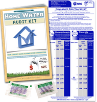 Home Water Audit Kit | Full Color Book, Flow Gauge Bag & Toilet Dye Tablets | Custom labeled