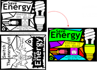 Energy Fun Stained Glass Coloring Sheets - Window Energy Saving Messages | Children's learning tools