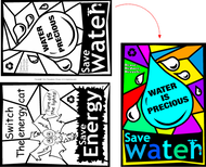 Water & Energy Fun Stained Glass Coloring Sheets - Window Conservation Saving Messages | Children's learning tools