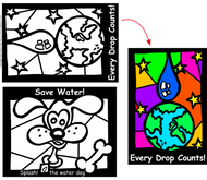 Fun Stained Glass Coloring Sheets Children's Learning Tool with Water Saving Messages