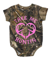 Baby One Piece Clothing - take me hunting in pink