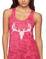 Hunting Tank Top For Women with deer skull and silver shimmer ink on a burnout racerback tank top in pink - small, medium, large, extra large, 2x, 3x plus sizes available