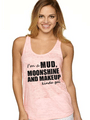 four wheeling, mudding, moonshine, makeup girl tank top in pink - country girl clothing and shirt by Southern Sisters Designs