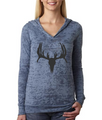 Slate Blue Hoodie With Deer Skull For women that love hunting - great for juniors and girls as well.