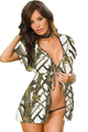 White Camouflage Baby Doll 2 Piece Lingerie Outfit