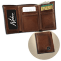 Premium Leather Tri-Fold Wallet with Buck Concho