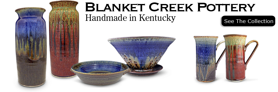 Blanket Creek Pottery was founded by Paul Borian on a rural homestead near Falmouth Kentucky. Each piece of Blanket Creek Pottery is individualy wheel-thrown by Paul. Each piece Blanket Creek Pottery is designed for every day use and its ability to withst